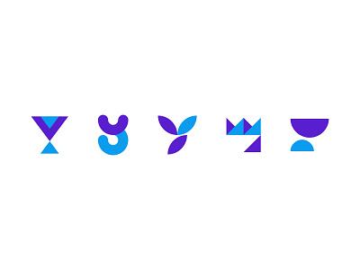 Y Exploration purple typography blue 2d unused design icon vector simple flat minimalistic logo