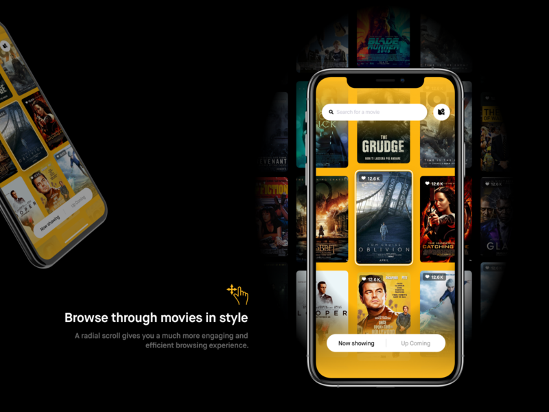 Smooth movie discovery work visual design user experience user interface ux design ui design ui ui ux style sketch searching redesign navigation mobile app gold elegant black application app design movies