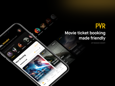 PVR Home concept user experience user interface redesign. booking movies app movie redesign mobile app concept design concept ios app app design ux design ui