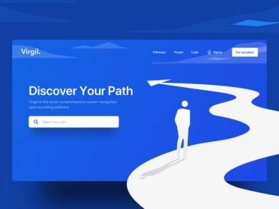 Landing Page for Virgil Careers jobs assessments skills careers website ux ui