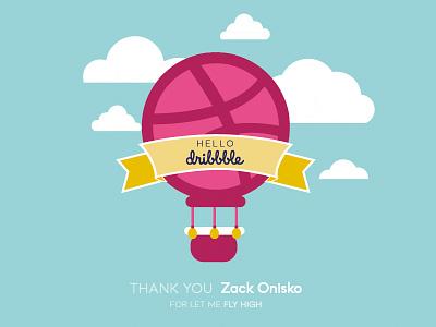 Hello dribbble fly airballoon dribbble invite first shot