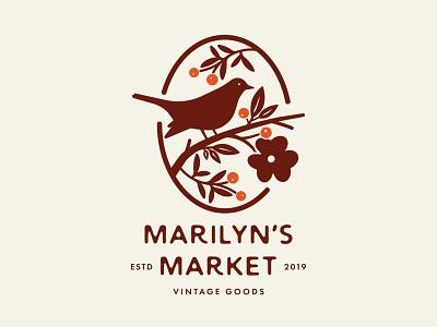 Marilyn's Market vintage berries branch flowers leaf logo design floral flower bird logo