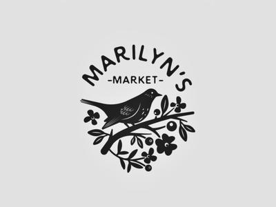 marilyn's market 💐 market flower icon flower logo bird logo vintage cute retro leaves branch floral flowers logo bird