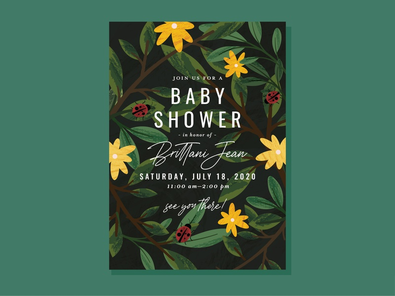 baby shower invite branch tree stationery invitation floral sunny texture ladybug leaves flowers flower baby shower baby