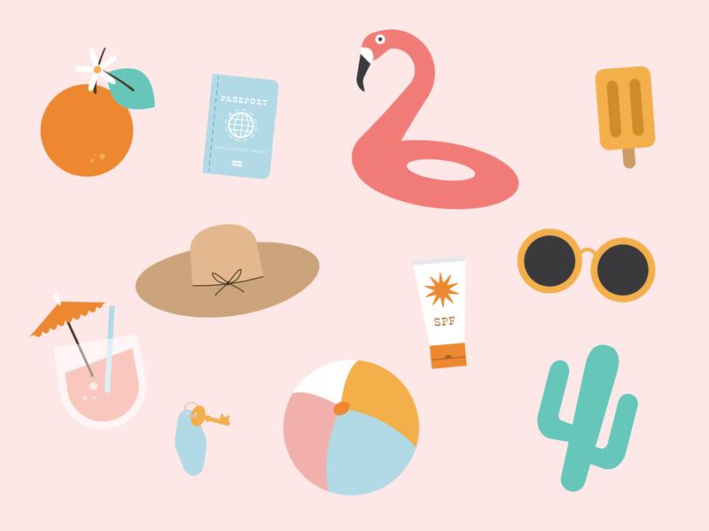 vacation pattern summer sun pattern travel popsicle drink cactus sunglasses palm springs beach flamingo passport hat orange tropical vacation