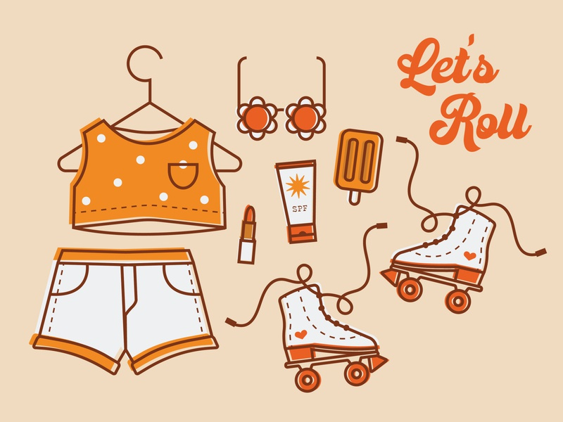 I have a brand new pair of rollerskates summertime shirt hanger sunglasses ice cream popsicle icon design icons set outside rollerskates shorts fashion outfit summer
