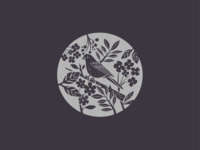 still over here drawing birds stamp linoprint linocut branch leaves summer retro flower bird logo bird
