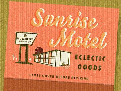 sunrise motel desert retro matchbook matches motel branding logo vacation hotel