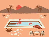 when it feels like fall outside but want summer back sun palm tree poolside swimming warm beach ball flamingo retro summer pool