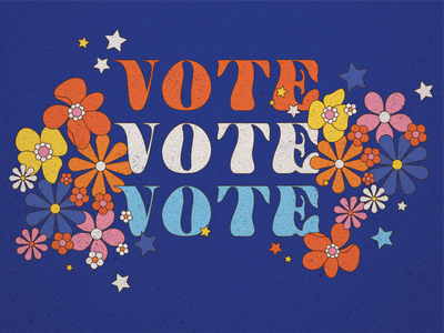 vote retro patriotic stars flowers flower voting american america election day november 4 presidential president election vote