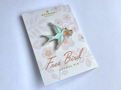 free bird enamel pin retro flower daisy flying bird enamel pin badge enamel pin free bird bird swallow