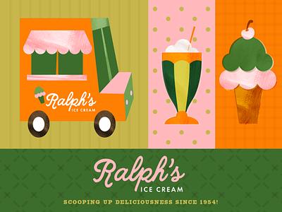 ralph's ice cream ice cream logo identity logo design logo branding branding design milkshake ice cream truck ice cream logo icecream ice cream cone