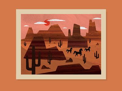 peaceful easy feeling🏜🚌🧳🌞 flat texture texture illustration retro illustration peaceful sun summertime vacation travel western utah arizona horse cactus cactuses summer desert illustration desert