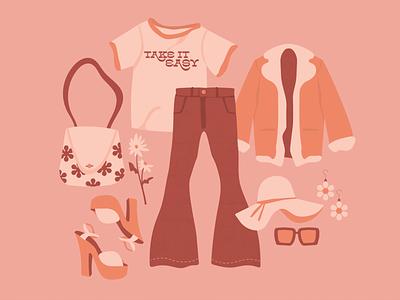 take it easy spot illustration daisy retro flowers summer sunglasses tshirt jacket pants hat outfit clothes fashion design fashion
