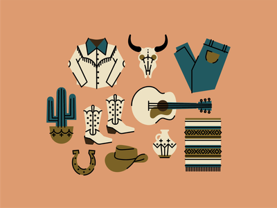 southwestern desert vibes desert summer vase jug icons cow skull horseshoe blanket cactus guitar cowboy hat cowboy boots cowboy western texas southwest