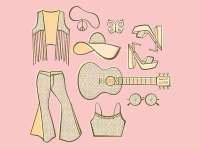 fringe fashion halftone texture fringe pants fashion sunglasses shoes music guitar hat outfit summer retro
