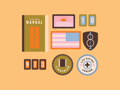 vectober // 14 // scout retro flag award badge camping camp stickers boy scouts scout patches patch