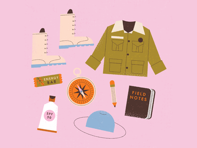 vectober // 16 // compass retro texture jacket notebook pencil hat energy bar scout boots compass