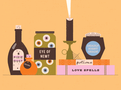 vectober // 17 // jar pattern texture retro halloween bottles smoke candle eyes witch witchcraft spells book potion jar