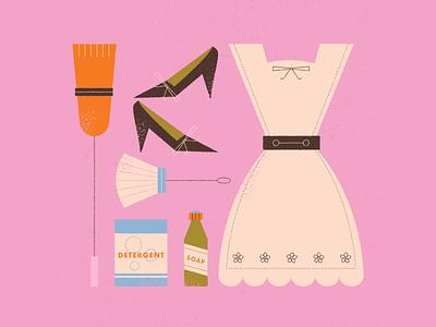 vectober // 19 // uniform inktober vectober halloween outfit retro clean broom apron heels shoes cleaning maid uniform