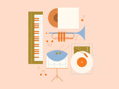 vectober // 20 // sound notes drums piano trumpet sound music band