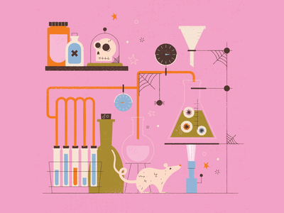 spooky science lab beakers spider web spider eye spooky mouse rat lab science