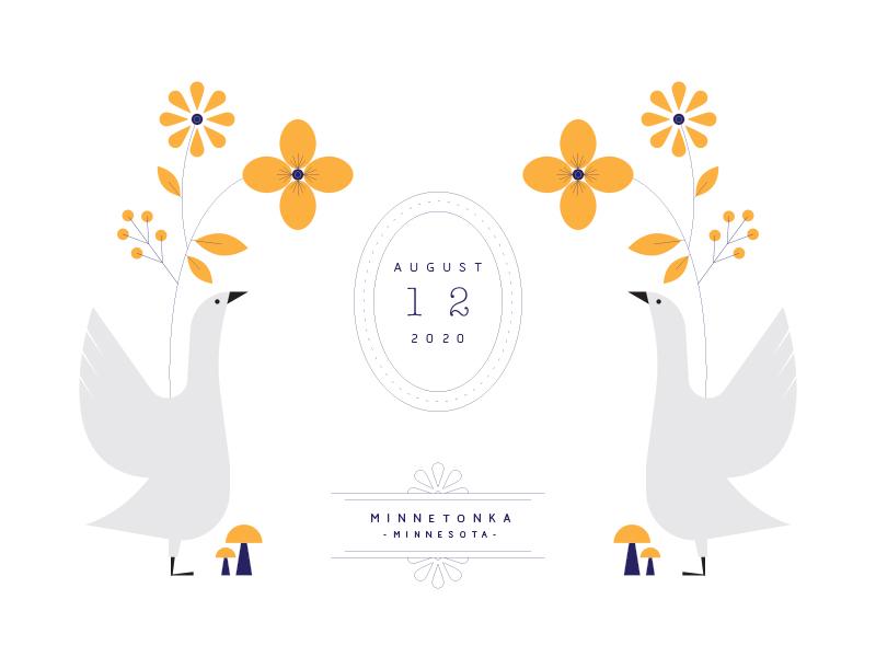 Birds save the date invitation leaves flowers mushrooms birds ducks