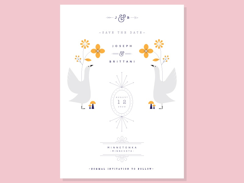 invitation wedding arrow mushrooms leaves duck ducks flowers birds invitation