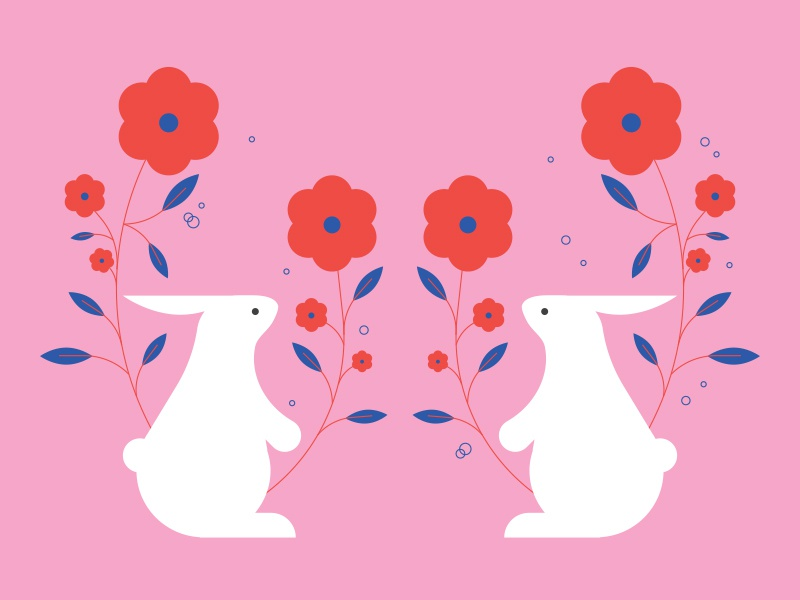 bunnies valentines valentines day floral leaves spring flower rabbit bunny