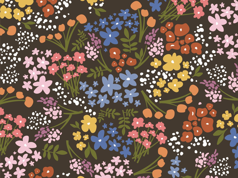 floral pattern fabric doodle retro flowers floral pattern