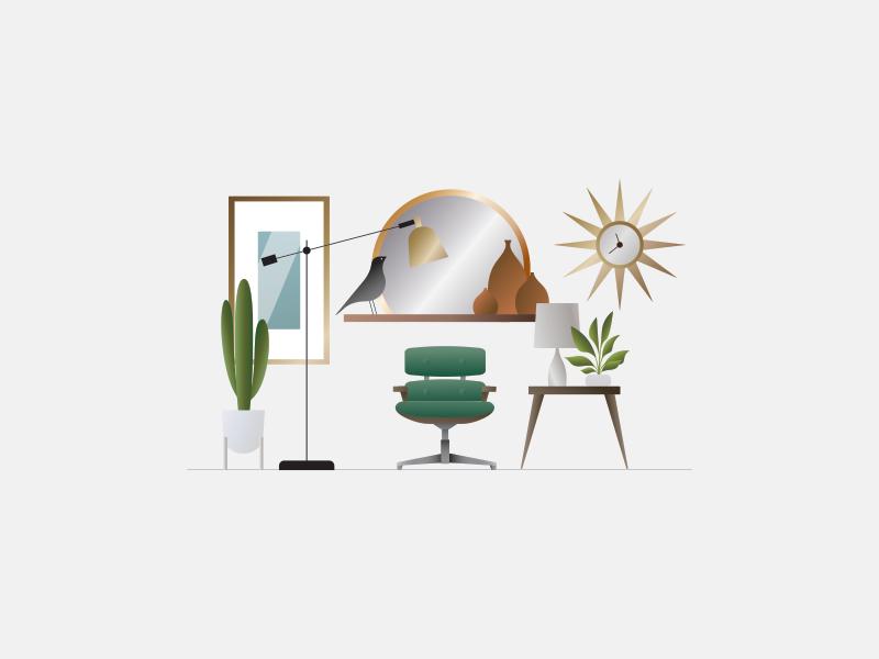 eames chair retro sunburst mirror cactus eames chair mid century modern interior design