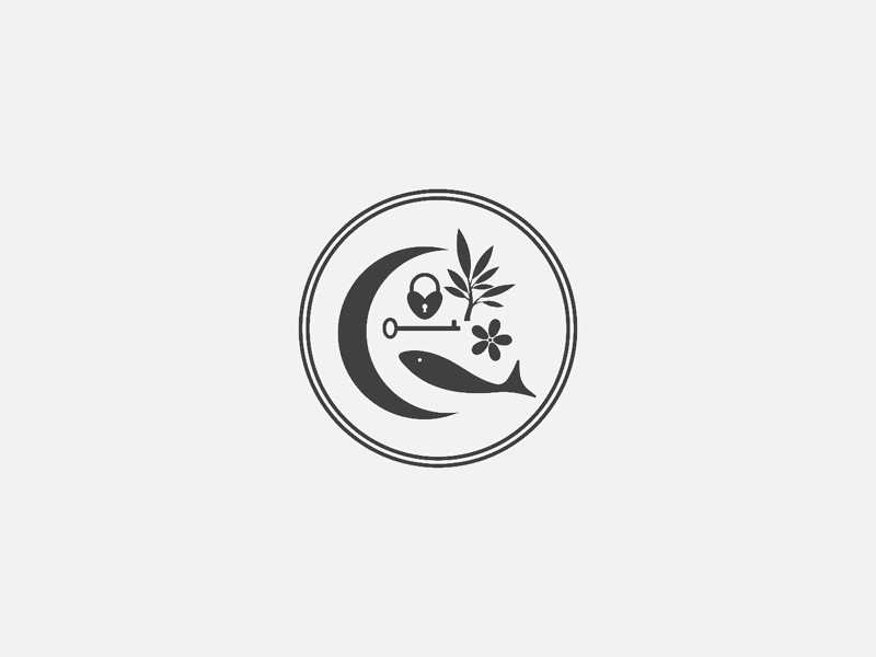 mystical symbols pisces zodiac moon fish flower lock key crescent moon