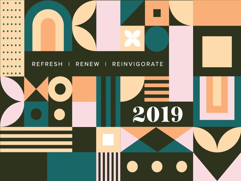 refresh | renew | reinvigorate refresh new year 2019 banner minimalist minimal square circle pattern shapes abstract