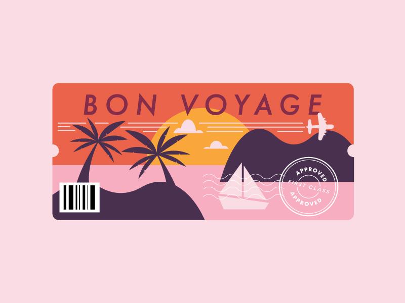 bon voyage sail boat ticket plane boarding pass bon voyage sunset sailboat palm tree island vacation boat travel