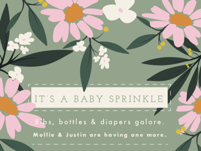 oh baby baby spring flowers floral flower baby shower invitation