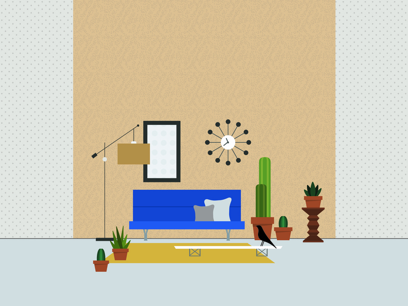 living room setting scene space living room retro rug charles eames eames mid century modern modern cactus interior design sofa couch furniture design furniture