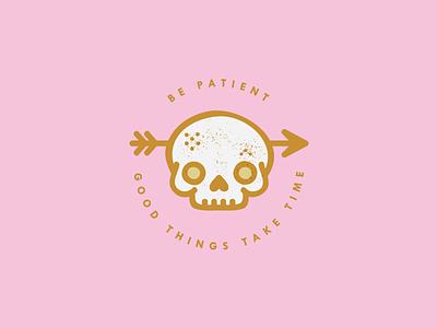 oldie but a goodie skeleton pink arrow patient waiting skull