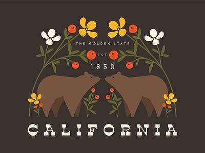 the golden state berry woodland so cal cali retro sunshine golden state plant leaves flower poppies symmetrical bears california