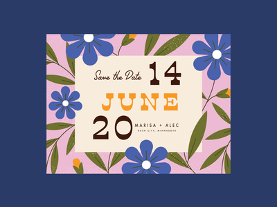 save the date june summer plants leaves floral flower retro save the date invitation wedding