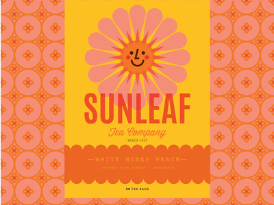 sunleaf tea company vintage retro lose leaf tea tea packaging tea cup tea pot flower sun packaging tea