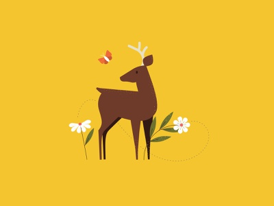 is it spring yet seasons animal deer illustration springtime floral flower butterfly deer spring