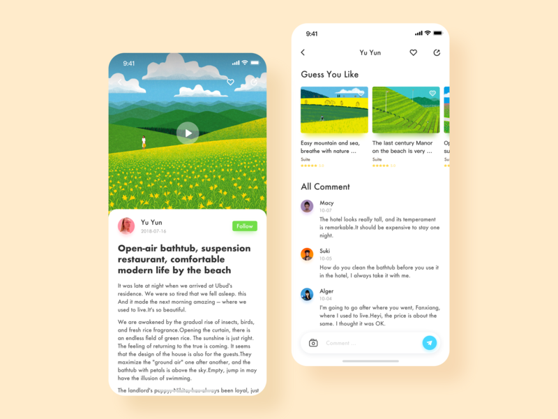 Homestay App-Story Page ui hotel homestay story page design app
