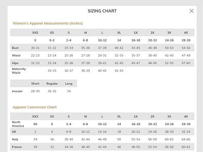 Size Charts responsive design chart sizing chart ecommerce retail size chart