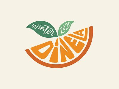 Winter Dine LA dining illustration logo lettering fruit logo melon hand lettering lettering orange citrus logo