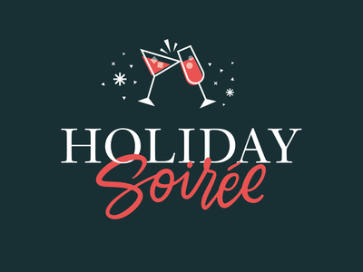 Holiday Soiree hand lettering cheers new years eve christmas new years celebration drinks holiday logo