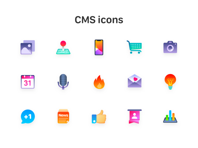 cms icons review vote level thumbs up news light bulb mail fire microphone calendar camera shopping cart iphone 11 map position image img icon