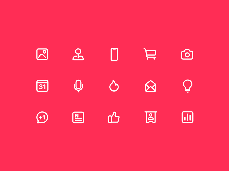 cms icons linear shopping cart news thumbs up vote microphone map mail light bulb level iphone fire camera calendar img image