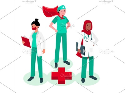 Medical Care Heroes women arabian cute medical care corona covid service doctor nurse medical app heroes clinic hospital medical illustration