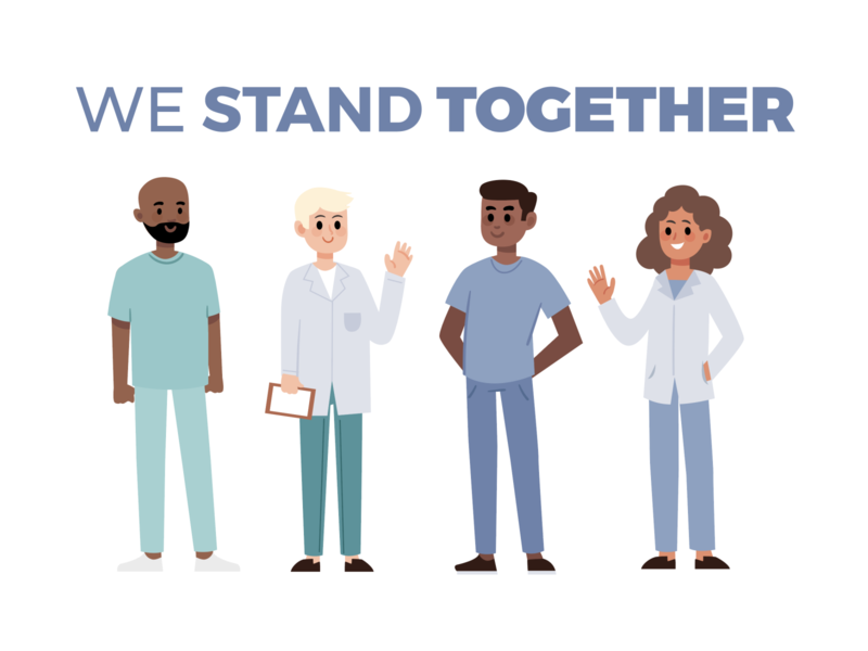 #WESTANDTOGETHER cute design sketch illustration freelance coronavirus 19 covid support together stand heroes staff medical hospital clinic paramedics doctors nurses