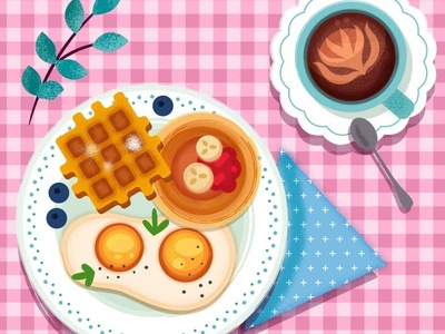 Cute Breakfast vector love freelance lady girly checkered foodie food yummy coffee eggs pancake waffles illustration art cute breakfast illustration